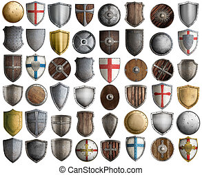 Big set of medieval knight shields isolated 3d illustration...