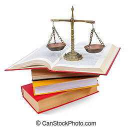 Scales of justice atop legal books. Isolated with clipping...