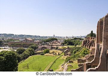 Palatine Hill - View at the Palatine Hill in Rome, Italy