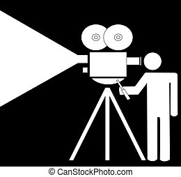 stick man with movie camera - stick man or figure filming...