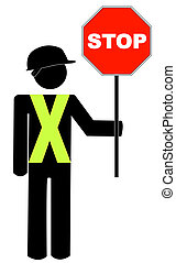construction worker in yellow vest holding red stop sign - vector