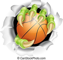 Claw with Basketball Ball Breaking out Of Background - An...