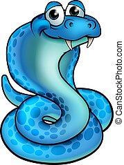 Cartoon Cobra Snake - A friendly blue cartoon cobra snake