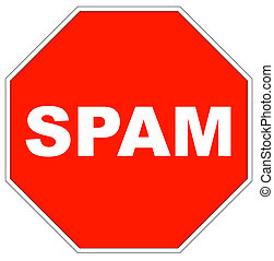red stop sign with the word spam