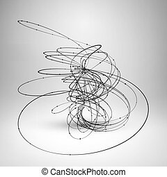 Abstract wire element with connected lines and dots Wave...