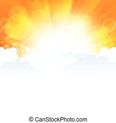 Beautiful sun ray in the clouds orange background