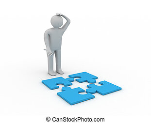 3d people - man, person with pieces of puzzle Confused