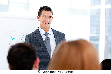 Self-assured businessman doing a presentation to his team