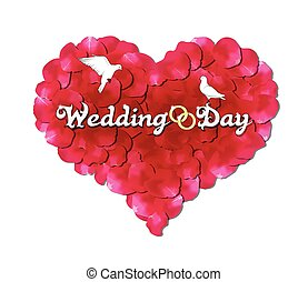 Wedding day, the heart of rose petals, doves and rings