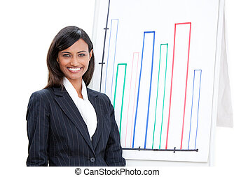 Positive businesswoman doing a presentation