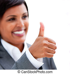 Happy businesswoman with a thumb up