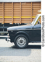 Mumbai, India - Detail of an old car in Mumbai in India