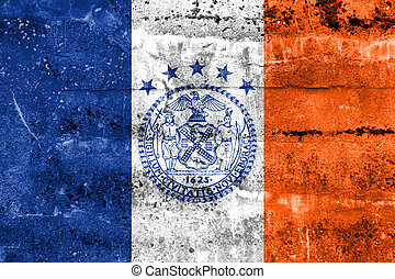 Flag of New York City, painted on dirty wall Vintage and old...