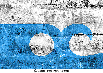 Flag of Ocean City, Maryland, painted on dirty wall Vintage...