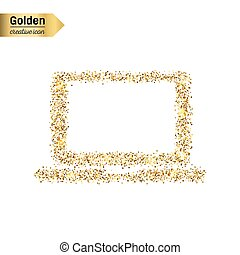 Gold glitter vector icon of computer isolated on background. Art creative concept illustration for web, glow light confetti, bright sequins, sparkle tinsel, abstract bling, shimmer dust, foil.