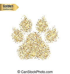 Gold glitter vector icon of animal footprint isolated on background. Art creative concept illustration for web, glow light confetti, bright sequins, sparkle tinsel, abstract bling, shimmer dust, foil.