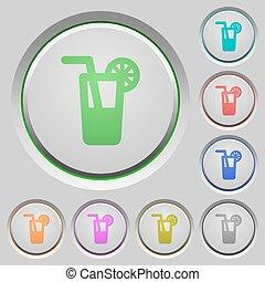 Longdrink push buttons - Set of color longdrink sunk push...