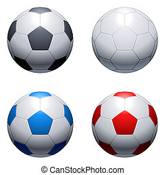 Soccer balls - Four soccer balls, with different color of...