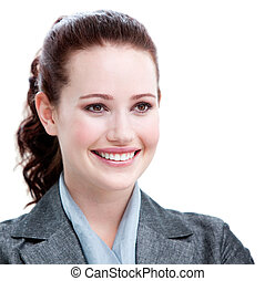 Portrait of a smiling young businesswoman against a white...
