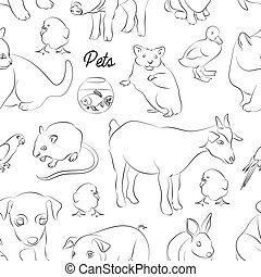 Animals pets vector pattern. Illustrations of various...