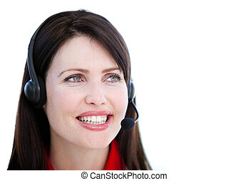 Brunette sales representative woman with an headset