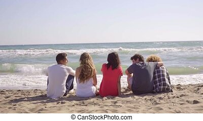 Young People Sitting On The Beach - Rear view of five young...