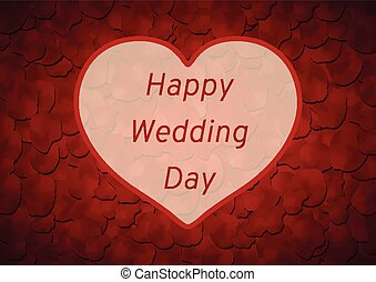 Happy Wedding day vector background, rose petals and heart