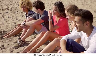 Group Of Young People Sitting On The Sandy Beach - Group of...