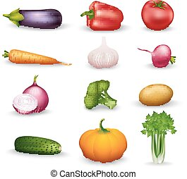 Vegetable Health Food Colorful Icons