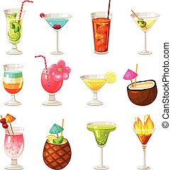 Club Cocktails Icons Set - Icons set of different night club...