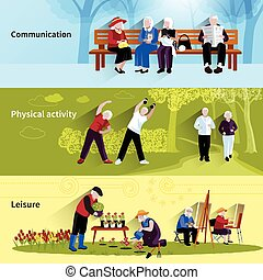 Elderly People Banners Set. Elderly People Vector...