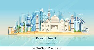Kuwait Skyline Flat Poster - Kuwait skyline flat poster with...