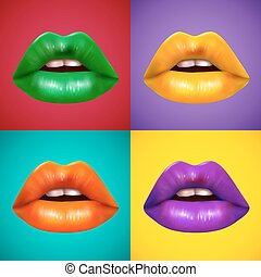 Bright Colored Lips 4 Icons Poster - Brightly colored lips 4...