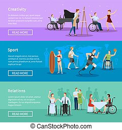 Disabled People 3 Horizontal Banners Composition - Disabled...