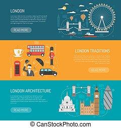 London Landmarks Flat Banners Set - Online information on...