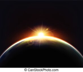 Globe Earth Sunlight Dark Background Poster - Planet earth...