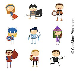 Set of Super Heroes Man and Woman