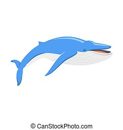 Blue Whale Isolated on White Background - Blue whale...