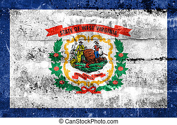 Flag of West Virginia State, painted on dirty wall Vintage...