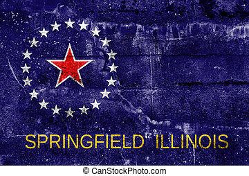 Flag of Springfield, Illinois, painted on dirty wall....