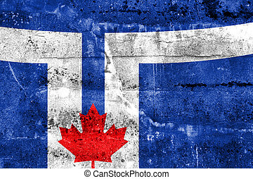 Flag of Toronto, painted on dirty wall Vintage and old look...