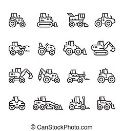 Set line icons of tractors, farm and buildings machines,...