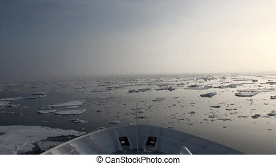 Dawn in ocean among icebergs and ice in Arctic. - Dawn in...