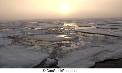 Sunset in ocean among icebergs and ice in Arctic - Sunset in...