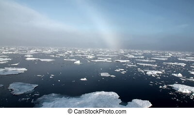 Rainbow in ocean among icebergs and ice in Arctic. - Rainbow...