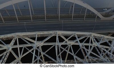 Kiev bridge aerial view - Automobile and railroad bridge in...