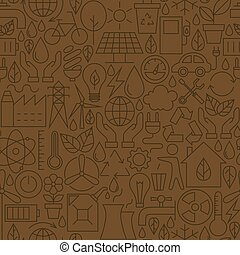 Thin Ecology Environment Line Seamless Brown Pattern Vector...