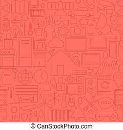 Thin Home Technology Seamless Red Pattern Vector Web Design...