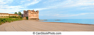 Castle on the beach at sunset panoramic view - Santa Severa...