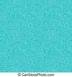 Thin Line Eco Friendly Ecology Blue Seamless Pattern Vector...